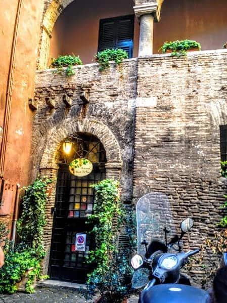 The historic Spirito di Vino building Trastevere