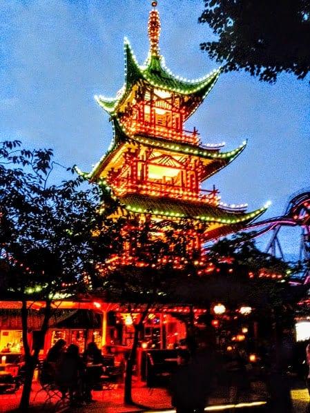 tivoli gardens pagoda night
