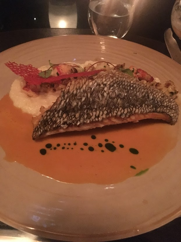 sea bass with corn and lobster