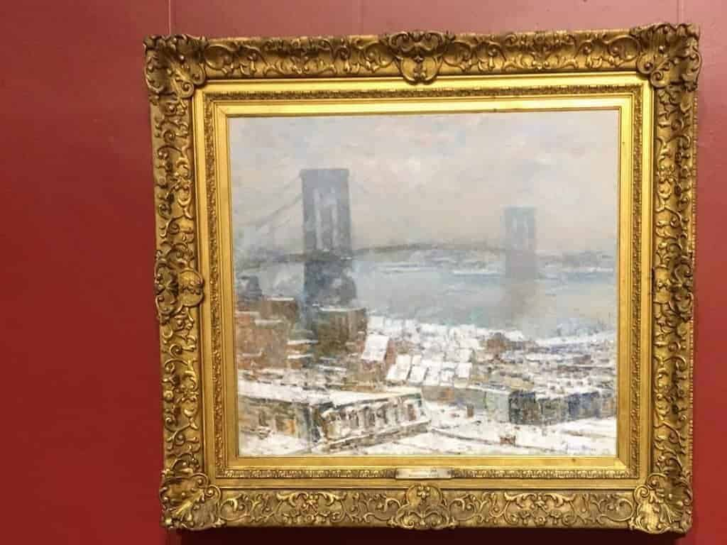 brooklyn bridge in winter childe hassam